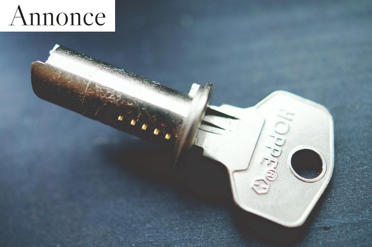 Cylinderlås med nøgle